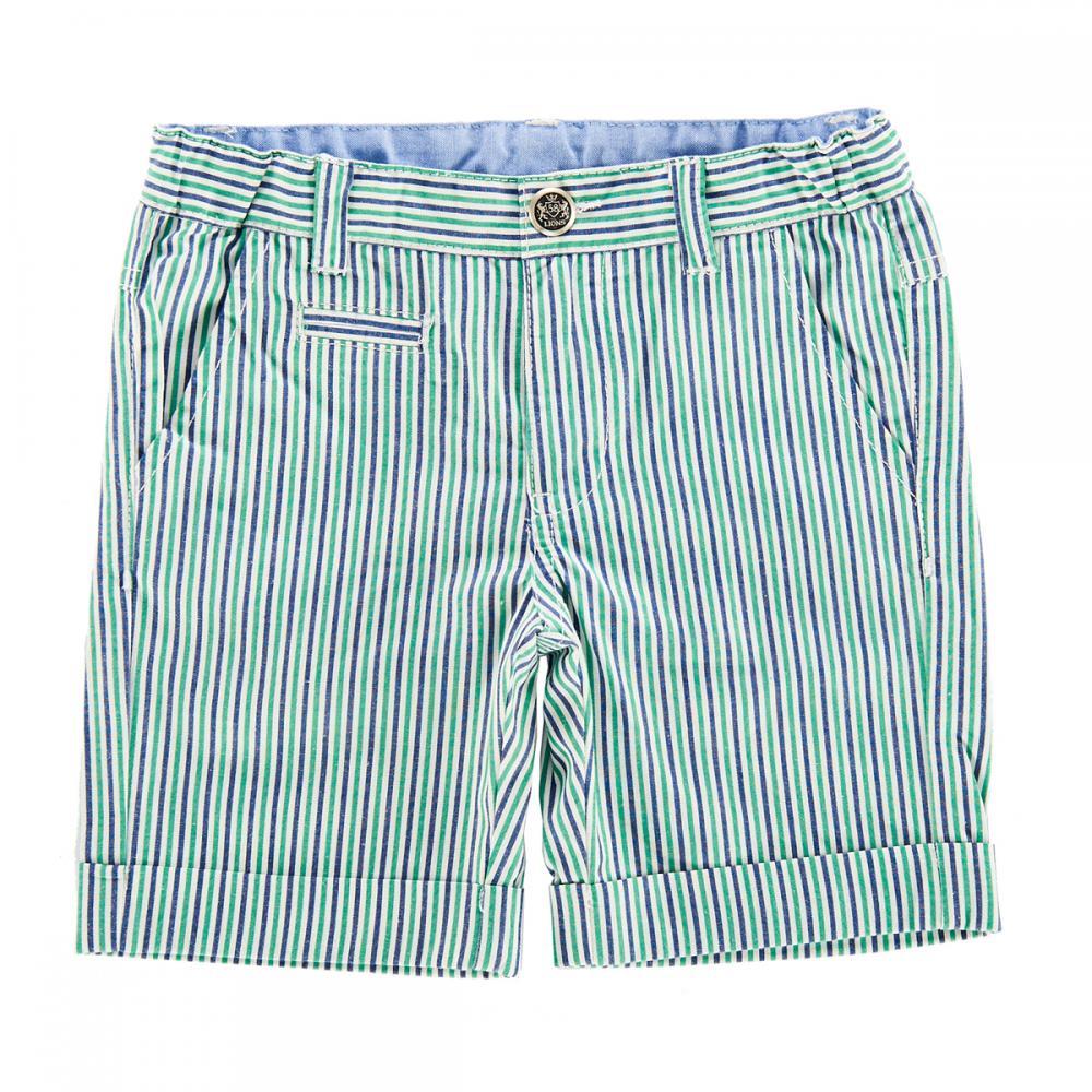 Pantalon scurt copii Chicco, alb cu dungi bleumarin si verzi