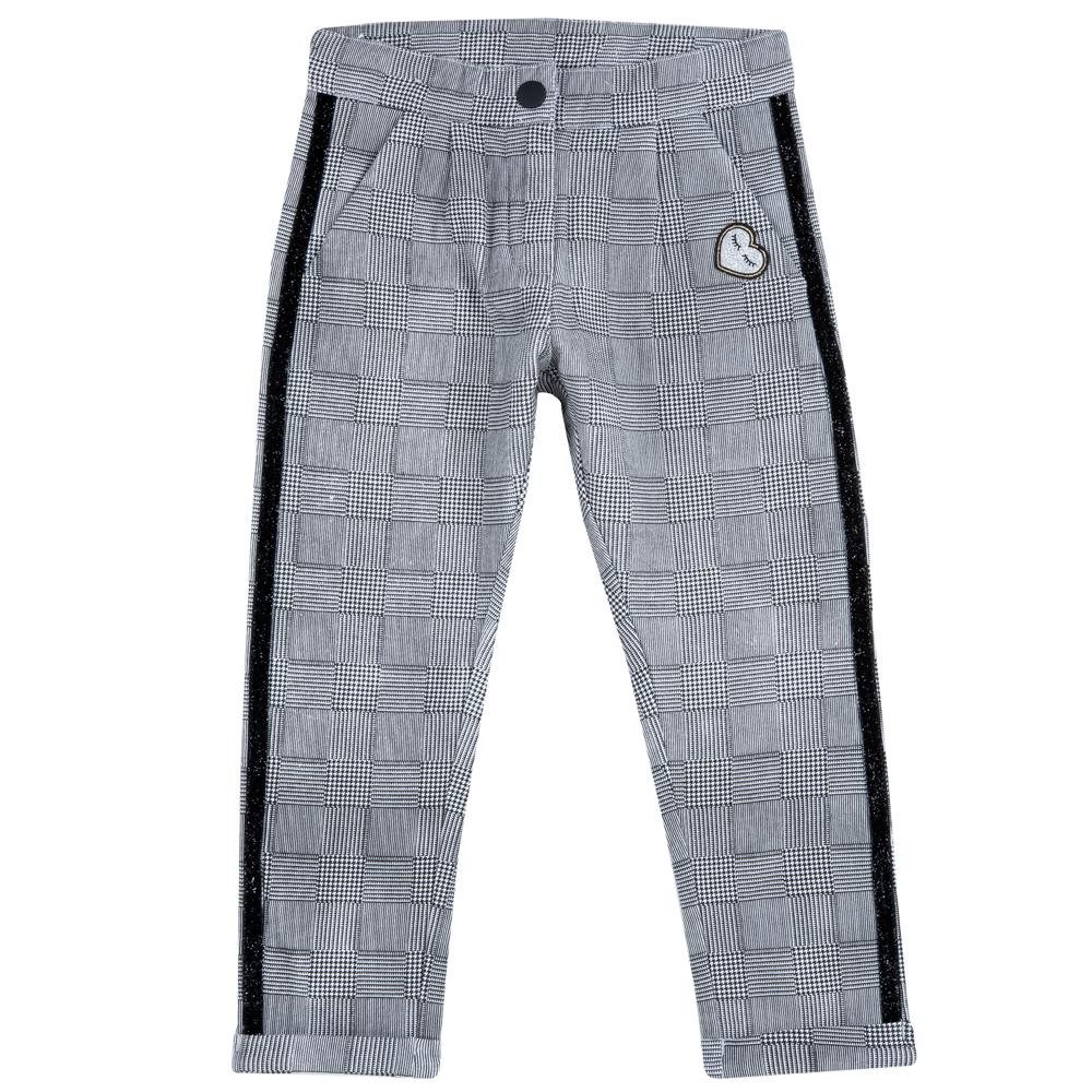 Pantalon lung copii Chicco alb cu negru