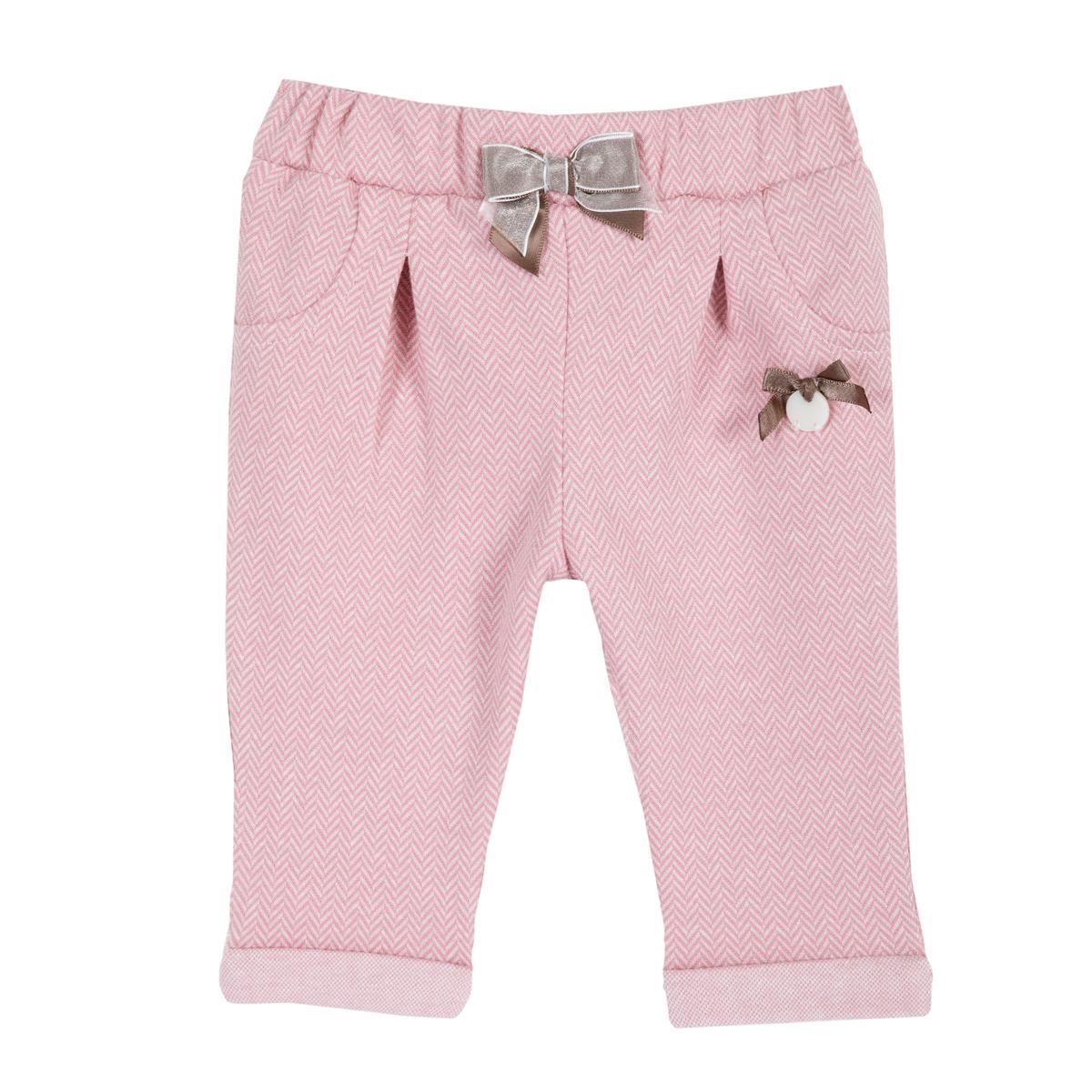Pantaloni copii Chicco, jerse cu fundite, corai, 08028 din categoria Pantaloni copii
