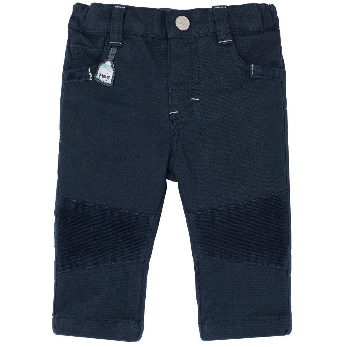 Pantaloni lungi copii Chicco, twill elastic, ursulet brodat, 08038 din categoria Pantaloni copii