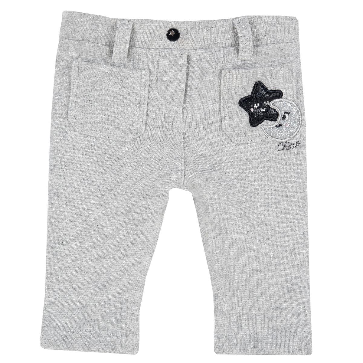 Pantalon lung copii Chicco gri cu aplicatii