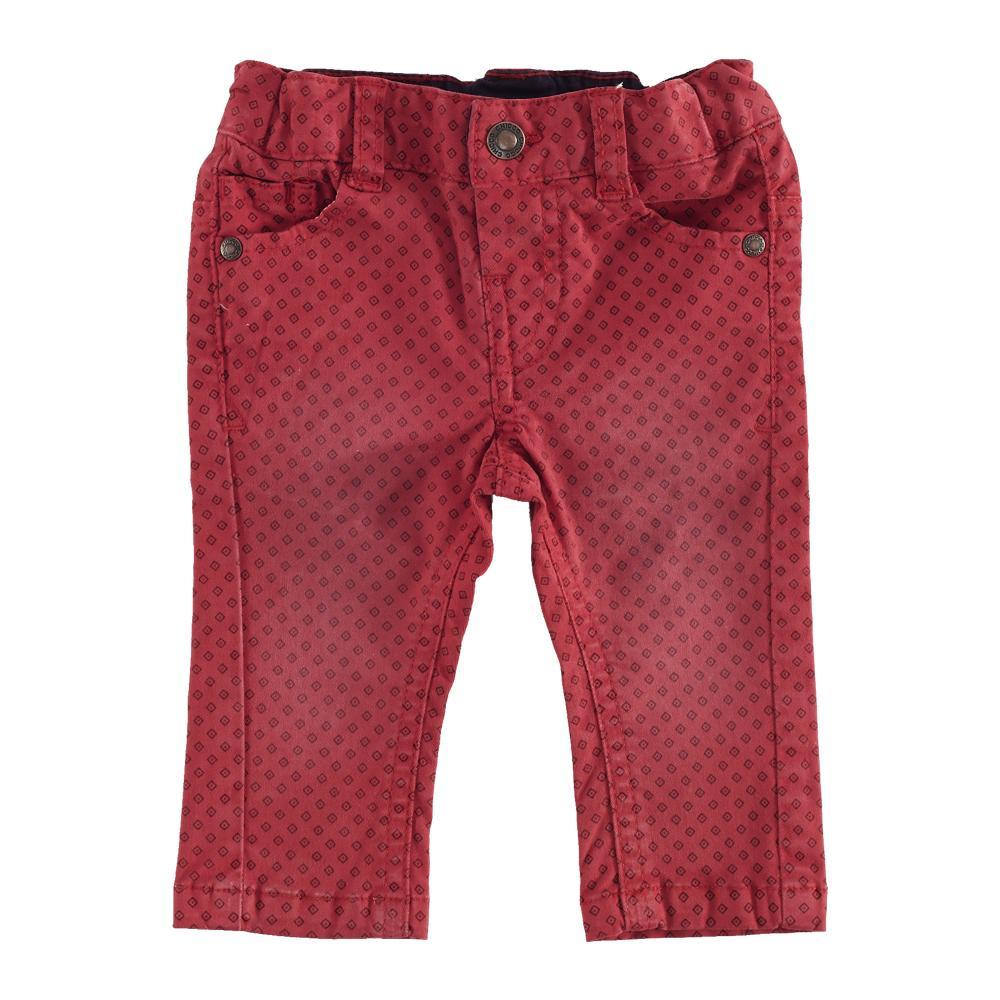 Pantaloni lungi copii Chicco, rosu cu model, 24588