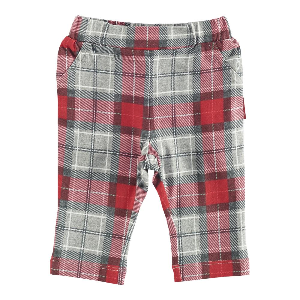 Pantaloni lungi copii Chicco, rosu cu model gri