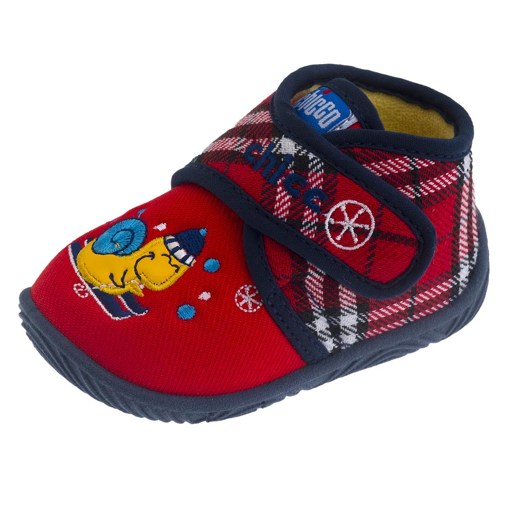 Pantof de casa Chicco, tip gheata, material textil, rosu, 56442