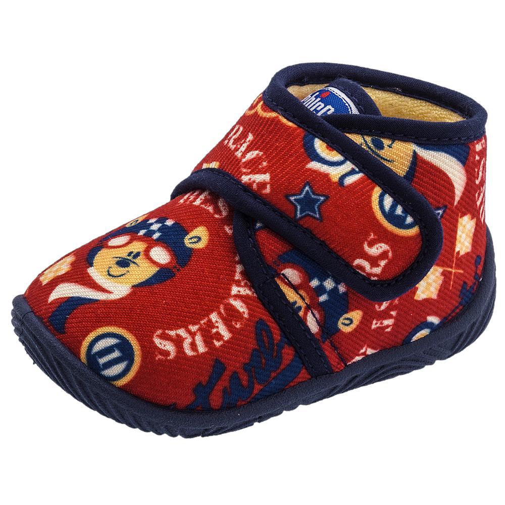 Pantof de casa Chicco tip gheata material textil rosu multicolor 31