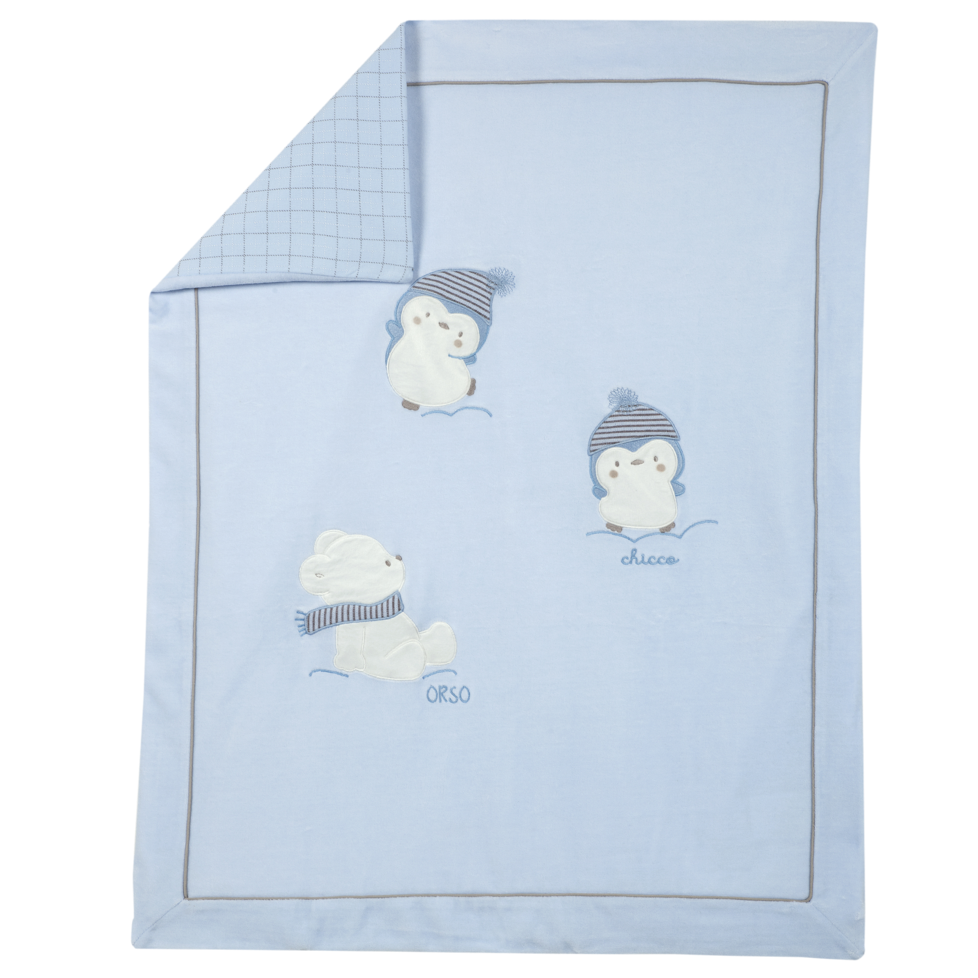 Plapuma Copii Chicco, Velur, Doua Fete, Albastru, 05039 imagine