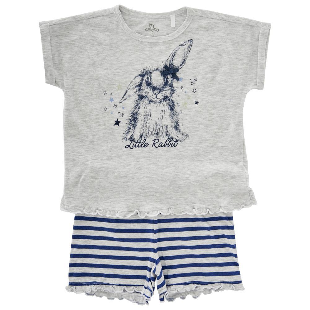 Pijama copii Chicco maneca scurta gri deschis 128