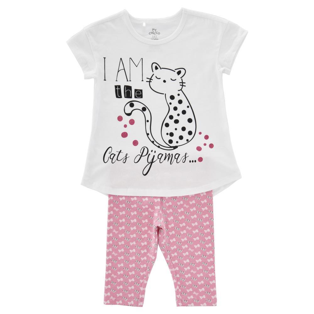 pijama maneca scurta copii chicco, fetite, alb cu roz