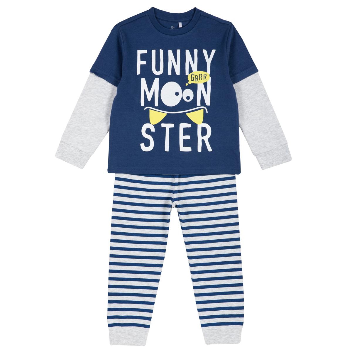 Pijama copii Chicco, maneca lunga, albastru, 31278 din categoria Pijamale copii