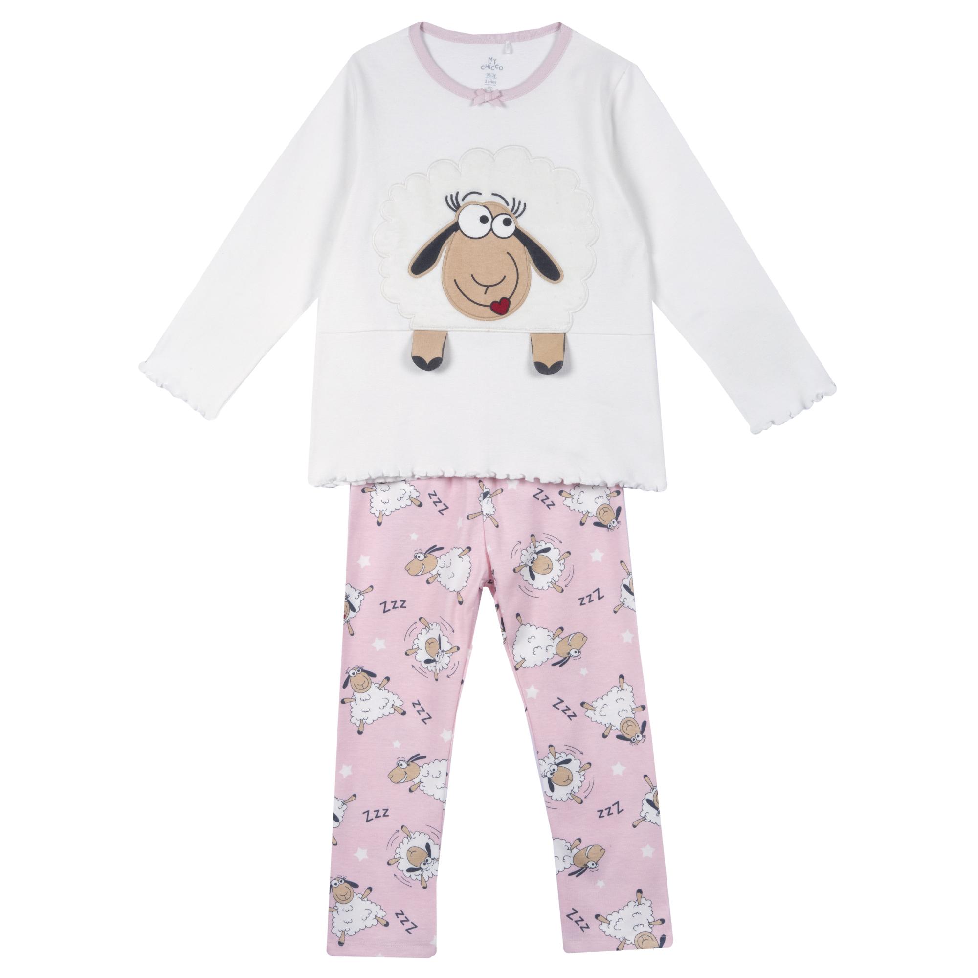 Pijama copii Chicco bluza si pantalon alb