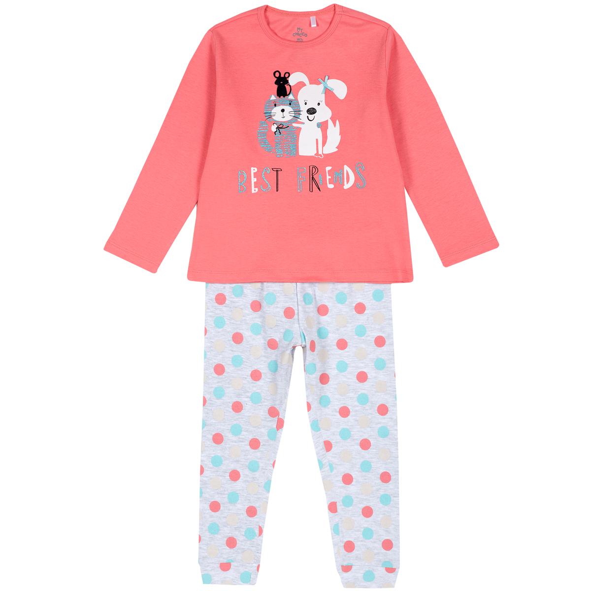 Pijama copii Chicco, roz, imprimeu animale, 31263 din categoria Pijamale copii