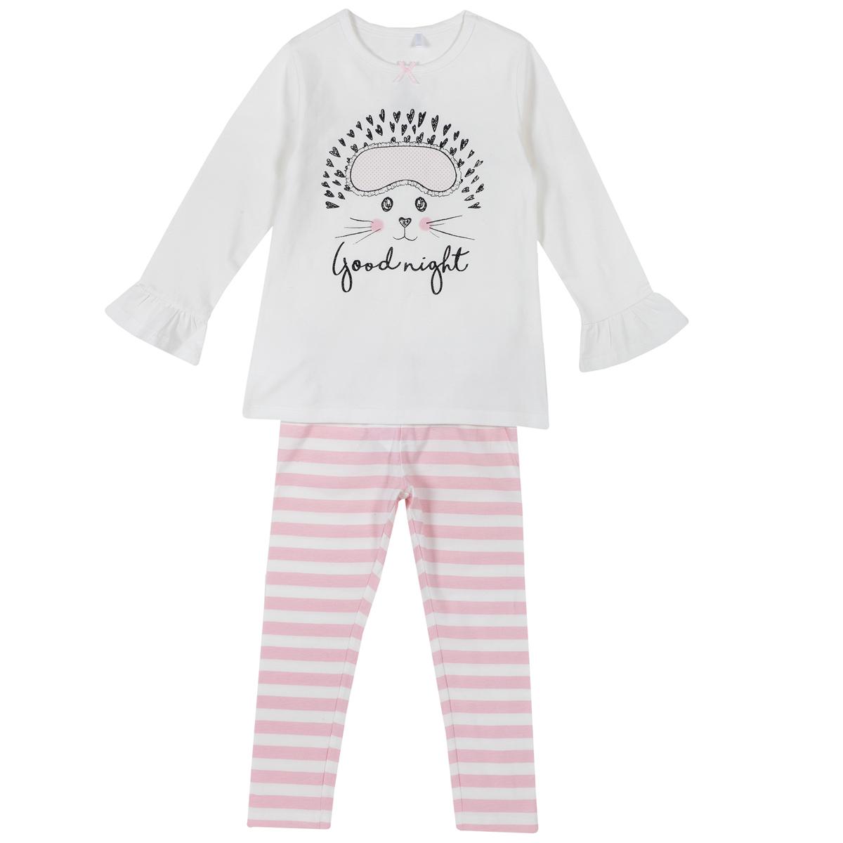 Pijama copii Chicco, maneca lunga, alb cu roz, 31269