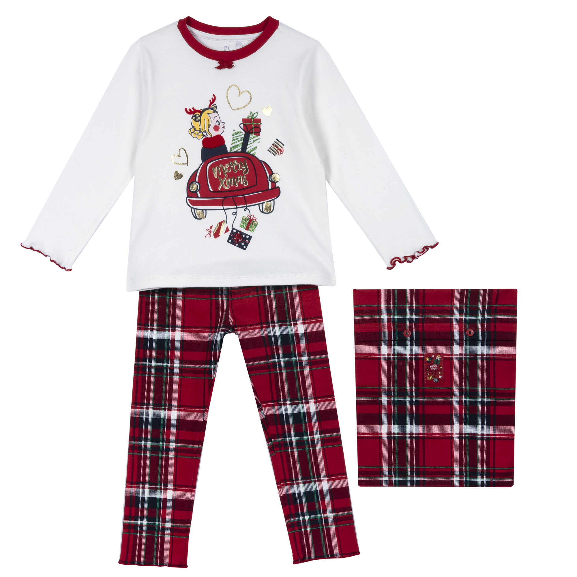 Pijama Copii Chicco, Bluza Si Pantaloni, Rosu, 31327 imagine