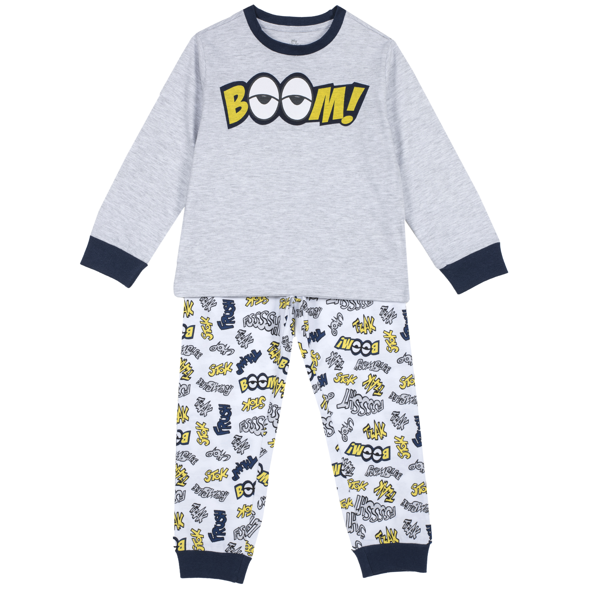 Pijama copii Chicco, maneca lunga, gri deschis, 31258 din categoria Pijamale copii