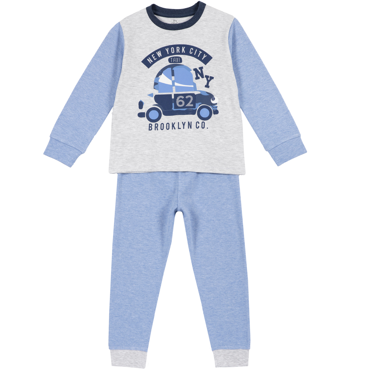 Pijama copii Chicco, maneca lunga, imprimeu masina, 31287