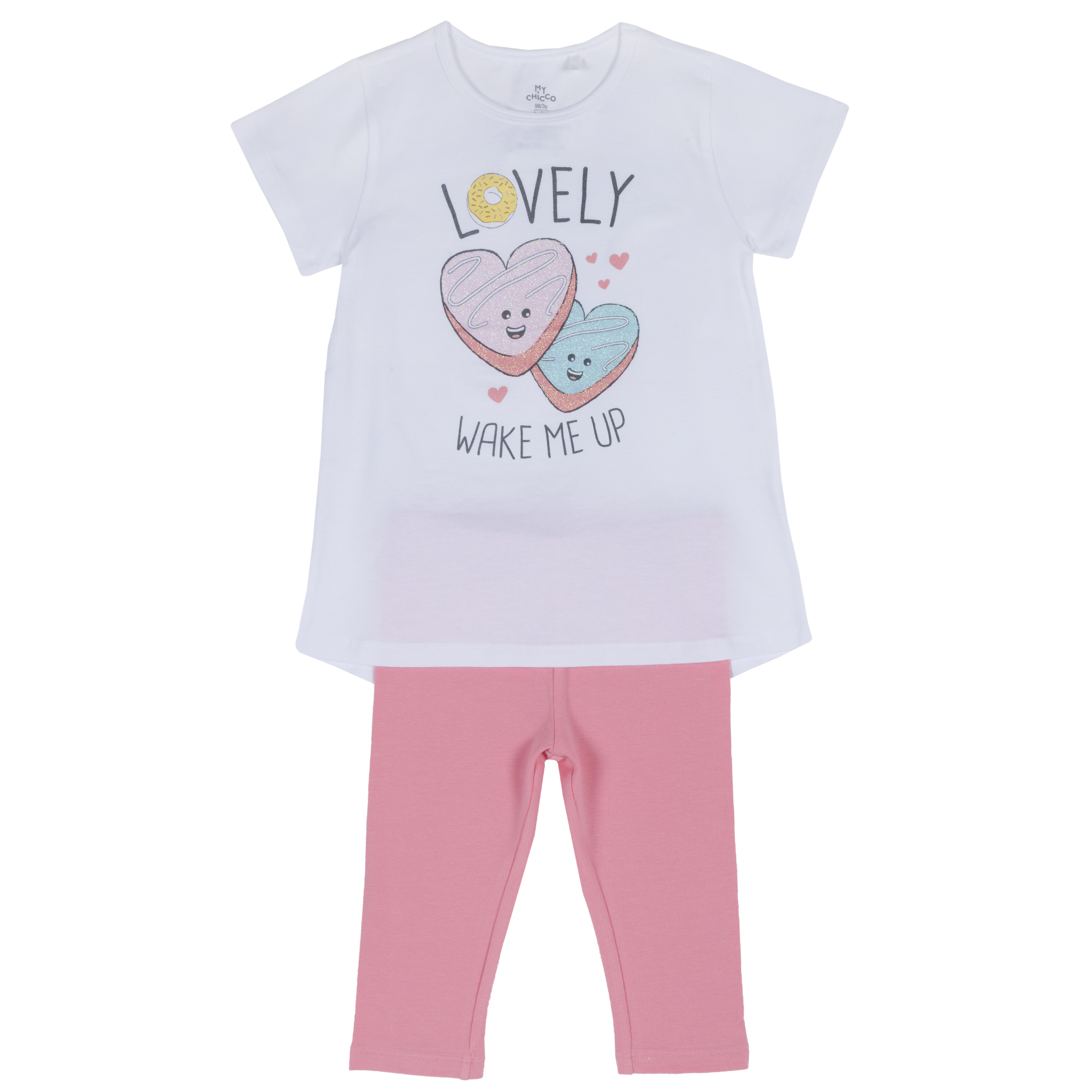 Pijama Copii Chicco, Tricou Si Pantalon, Roz Cu Alb, 35359 imagine