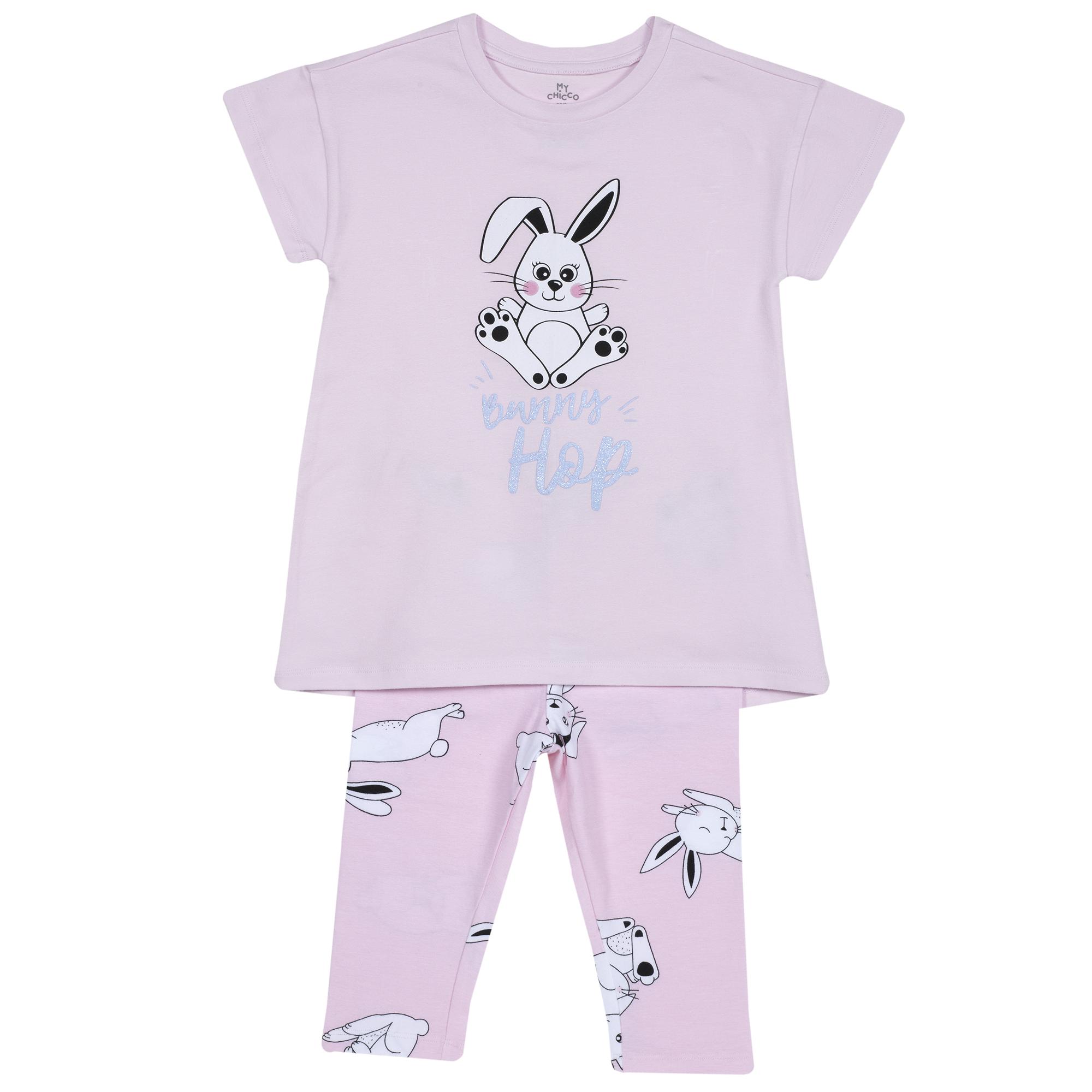 Pijama Copii Chicco, Tricou Si Pantalon, Roz Cu Model, 35358 imagine