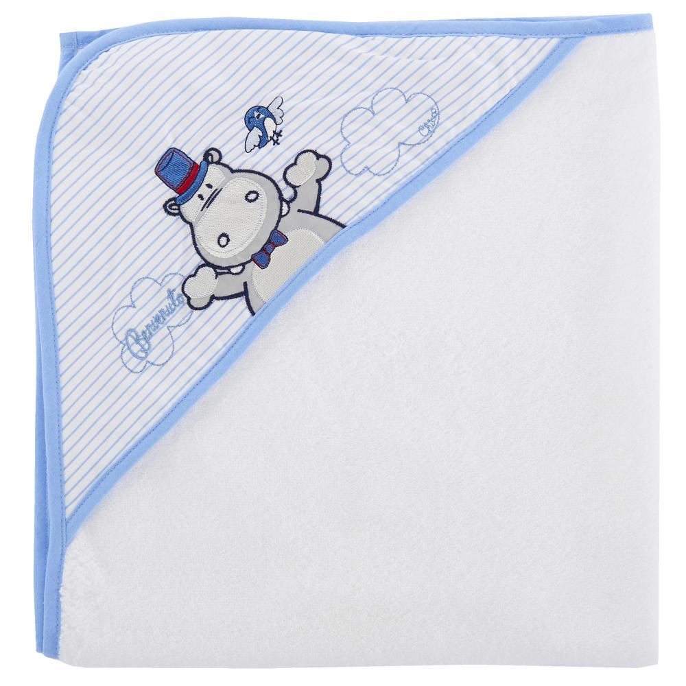 Prosop baie bebelusi Chicco, cu colt-gluga, alb cu bleu, 40876