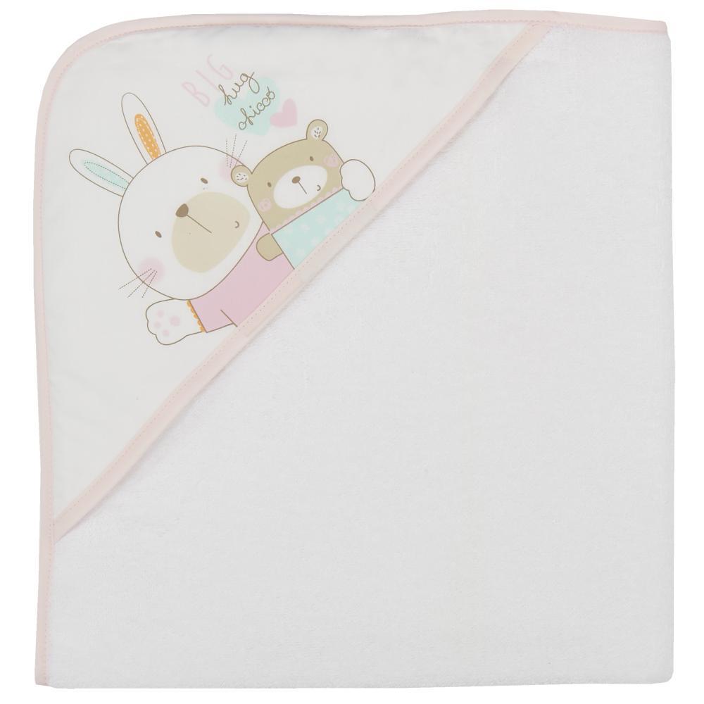 prosop baie bebelusi chicco, cu colt-gluga, alb cu roz