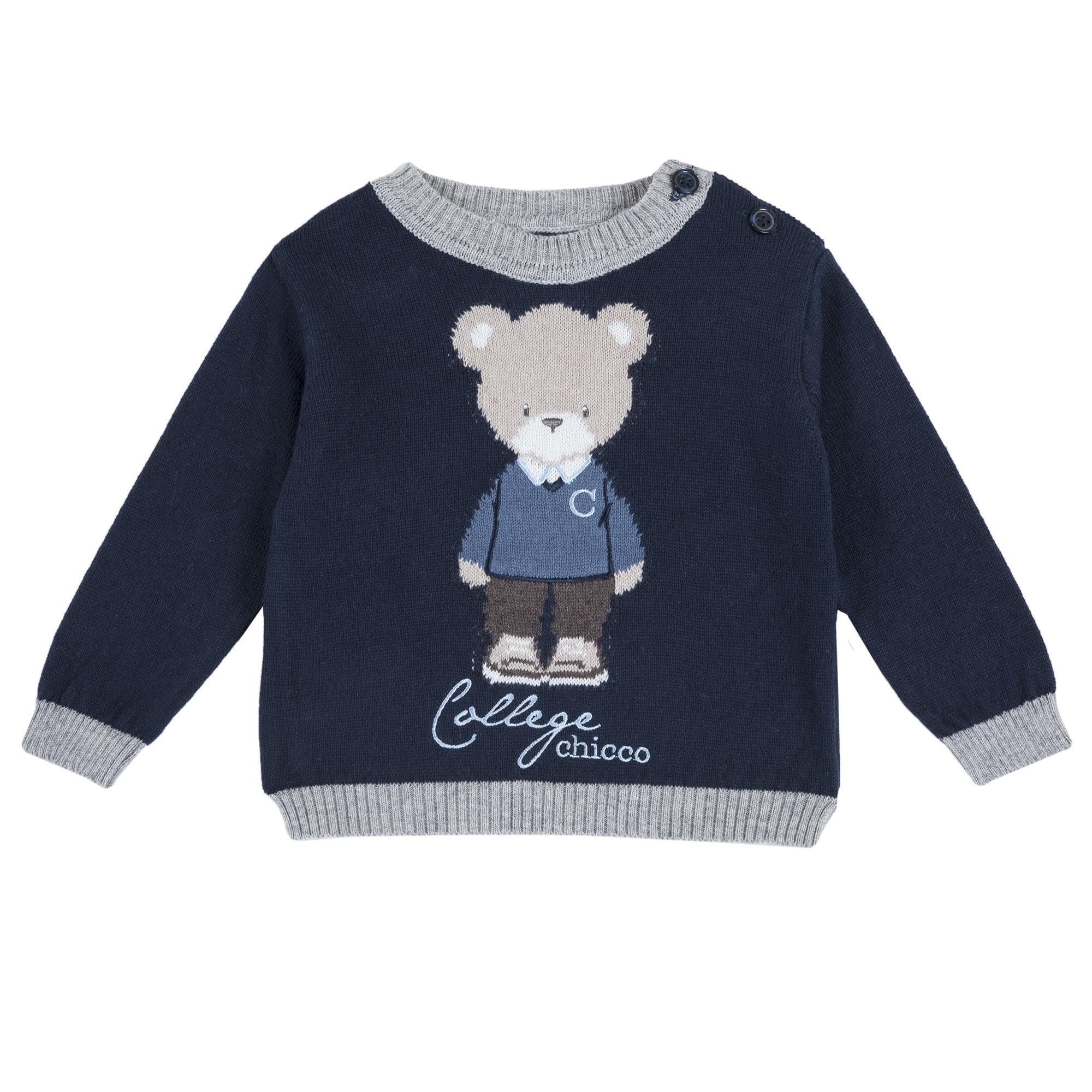 Pulover copii Chicco, tricotat, imprimeu ursulet, 69381