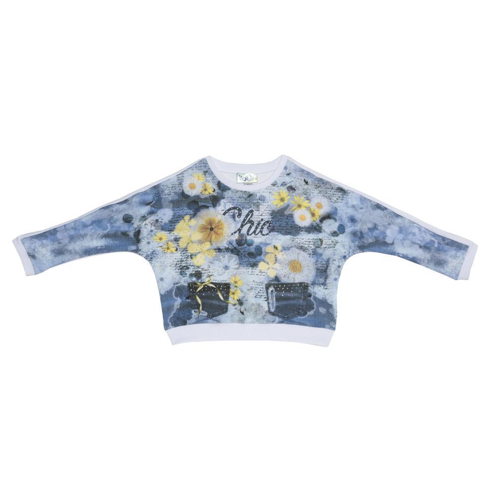 Tricou pentru fetite, Chicco, maneca lunga, alb cu model, 69178