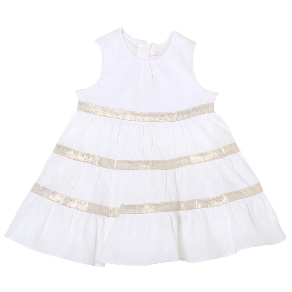 Rochie bebelusi Chicco, fara maneci, fetite, alb cu auriu