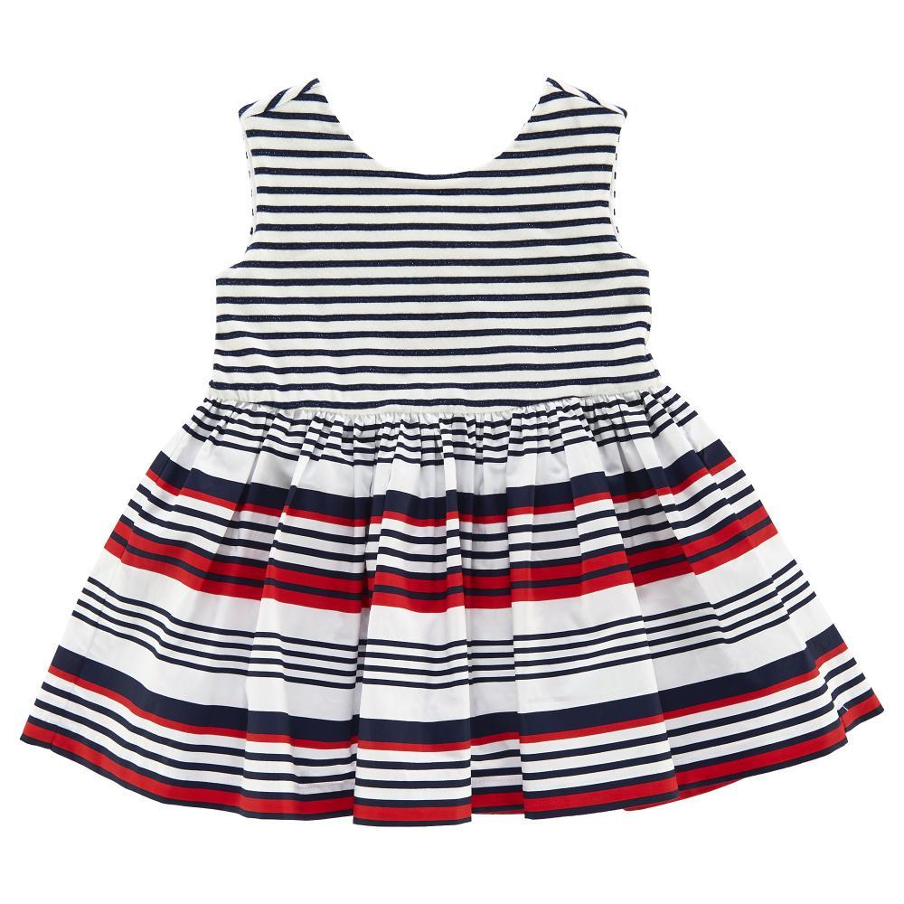 Rochie copii Chicco, alb cu dungi rosii si bleumarin