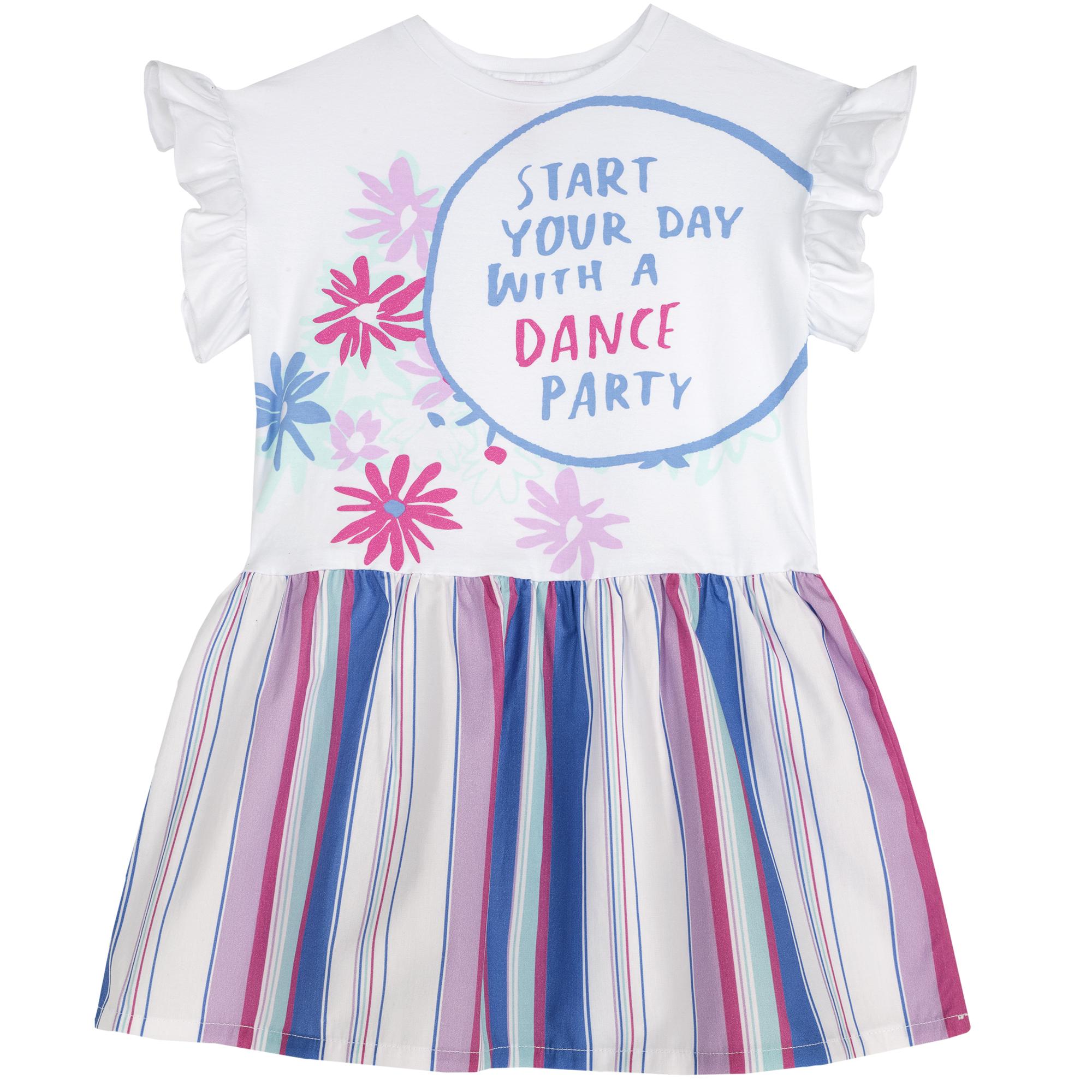 Rochie copii Chicco, maneca scurta, volanase, multicolor, 03496
