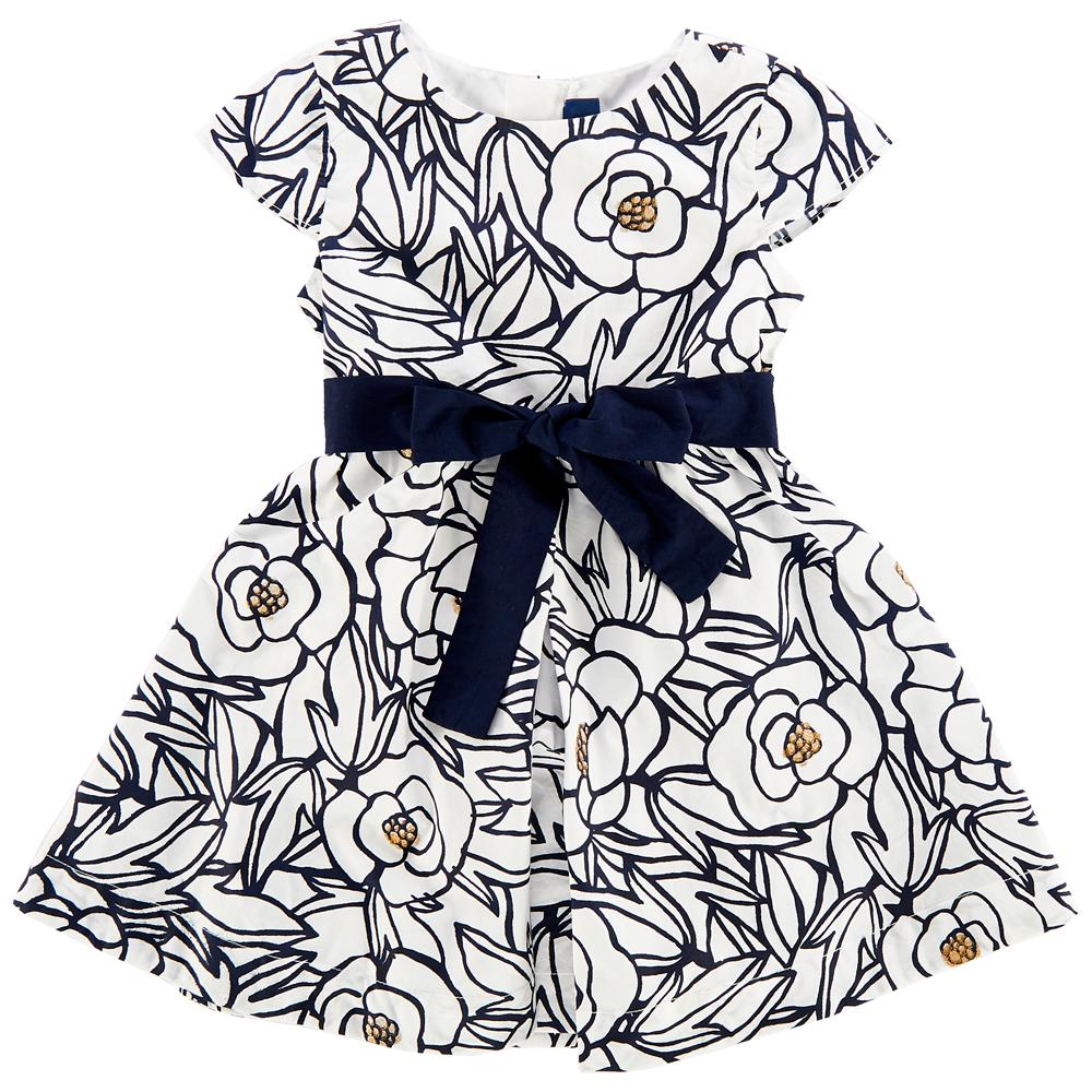 rochie eleganta copii chicco, alb cu trandafiri bleumarin
