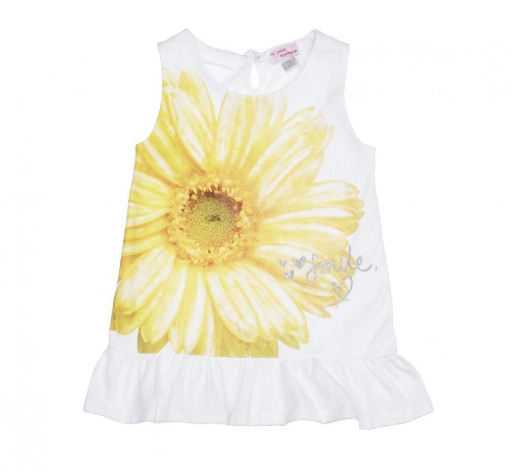 Rochie Chicco, fara maneci, alb cu model, 93455 din categoria Rochii, Fuste
