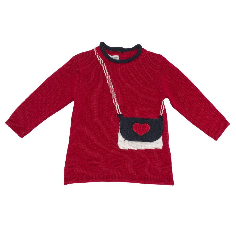 Rochie maneca lunga, tricotata,Chicco, rosu, amestec lana din categoria Rochii, Fuste