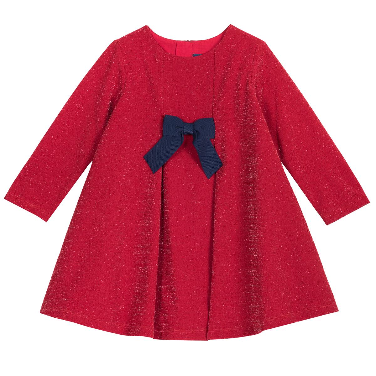 Rochie copii Chicco, rosie cu fir metalica si fundita bleumarin, 03566
