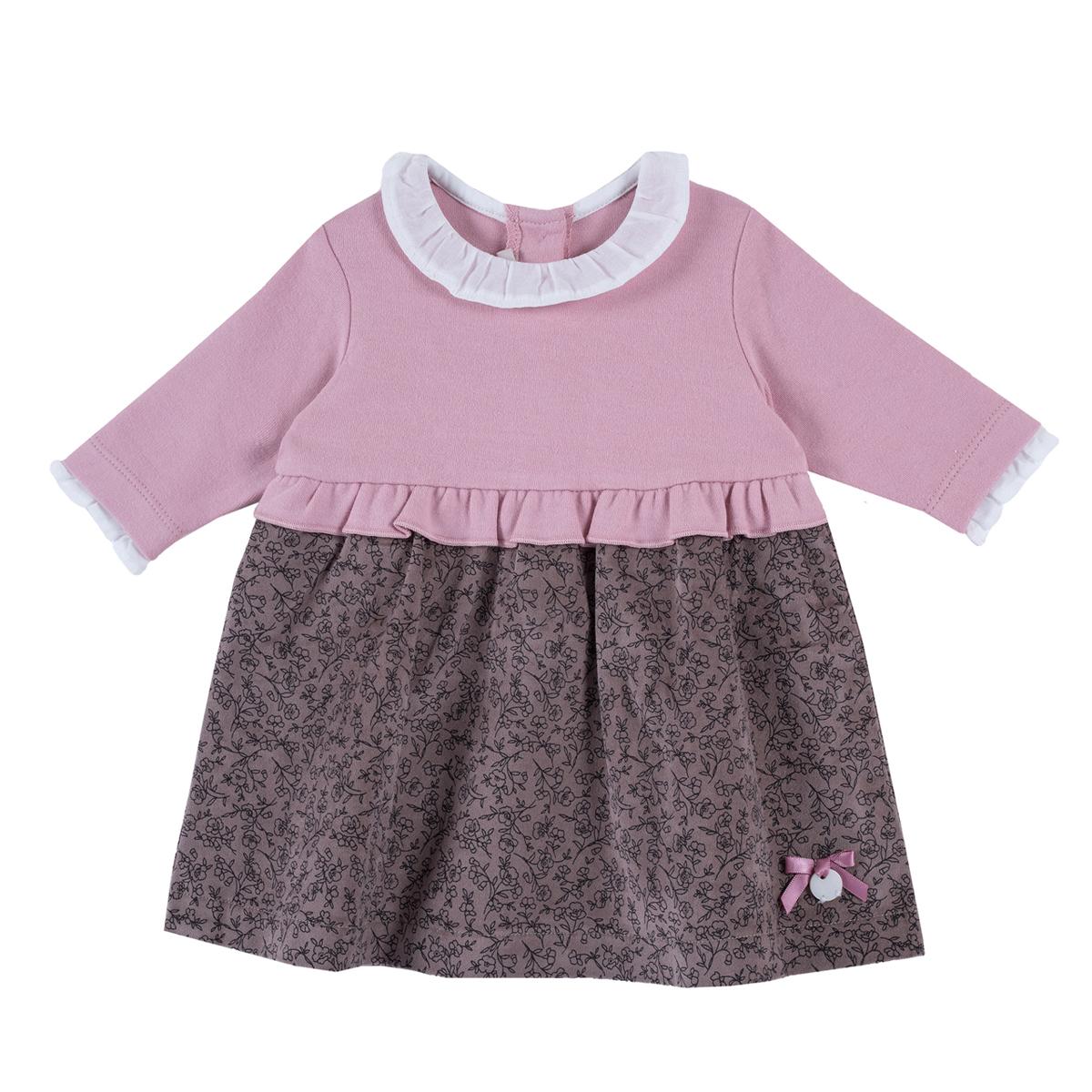 Rochie copii Chicco, maneca lunga, jerse si catifea, maro si corai, 03515 din categoria Rochii, Fuste
