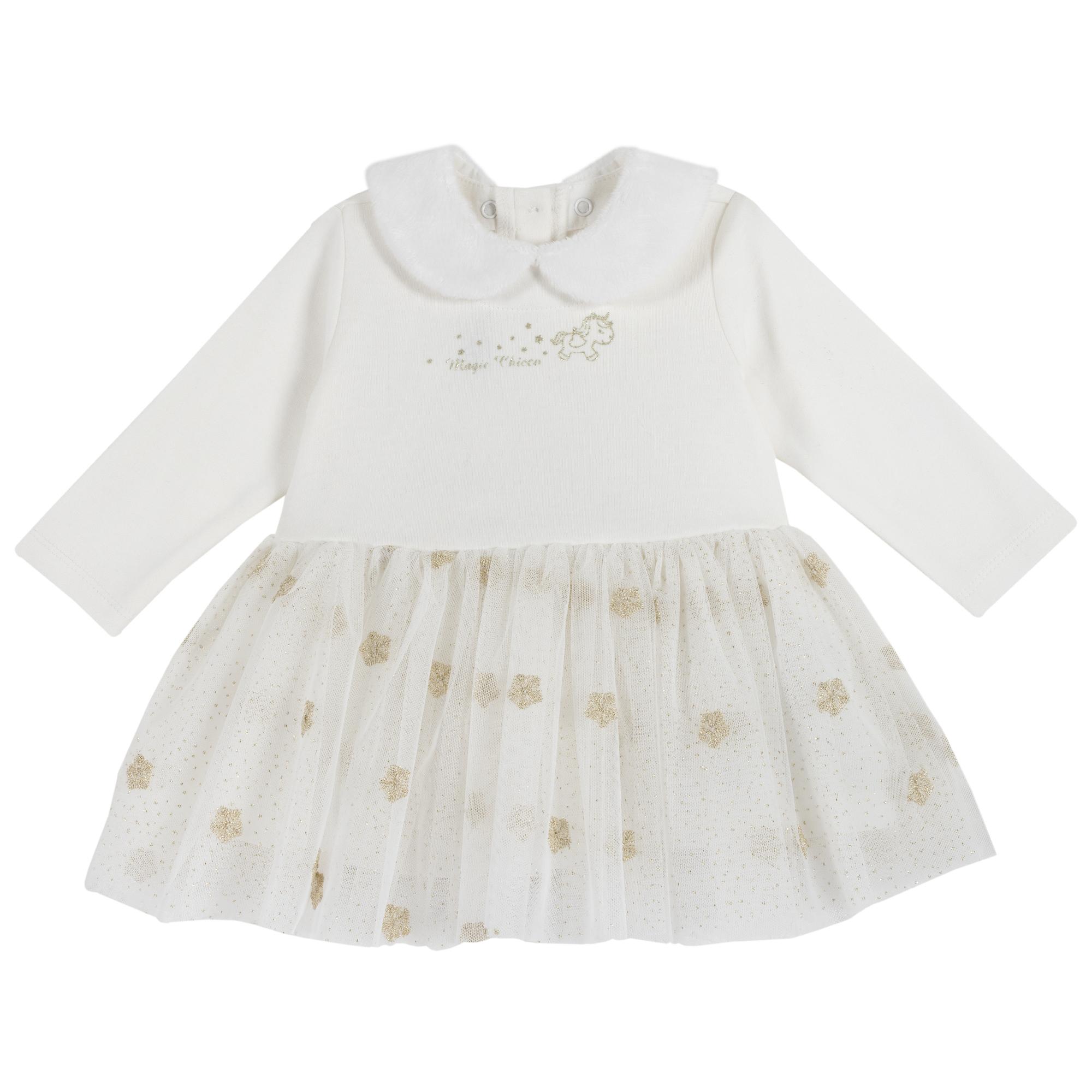 Rochie copii Chicco, maneca lunga, alb, 03531 din categoria Rochii, Fuste