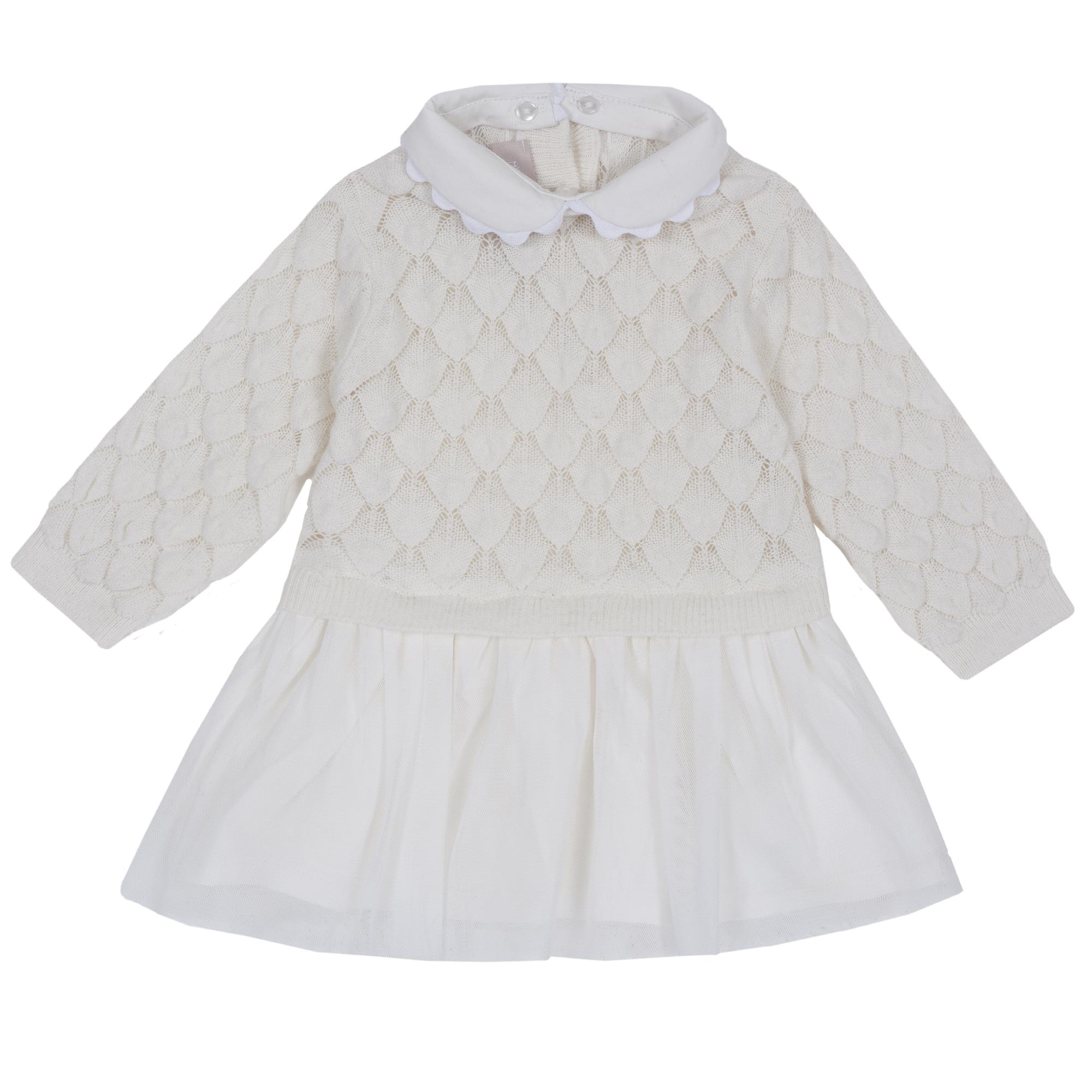 Rochie eleganta copii Chicco, dantela tricotata, alb, 03505 din categoria Rochii, Fuste