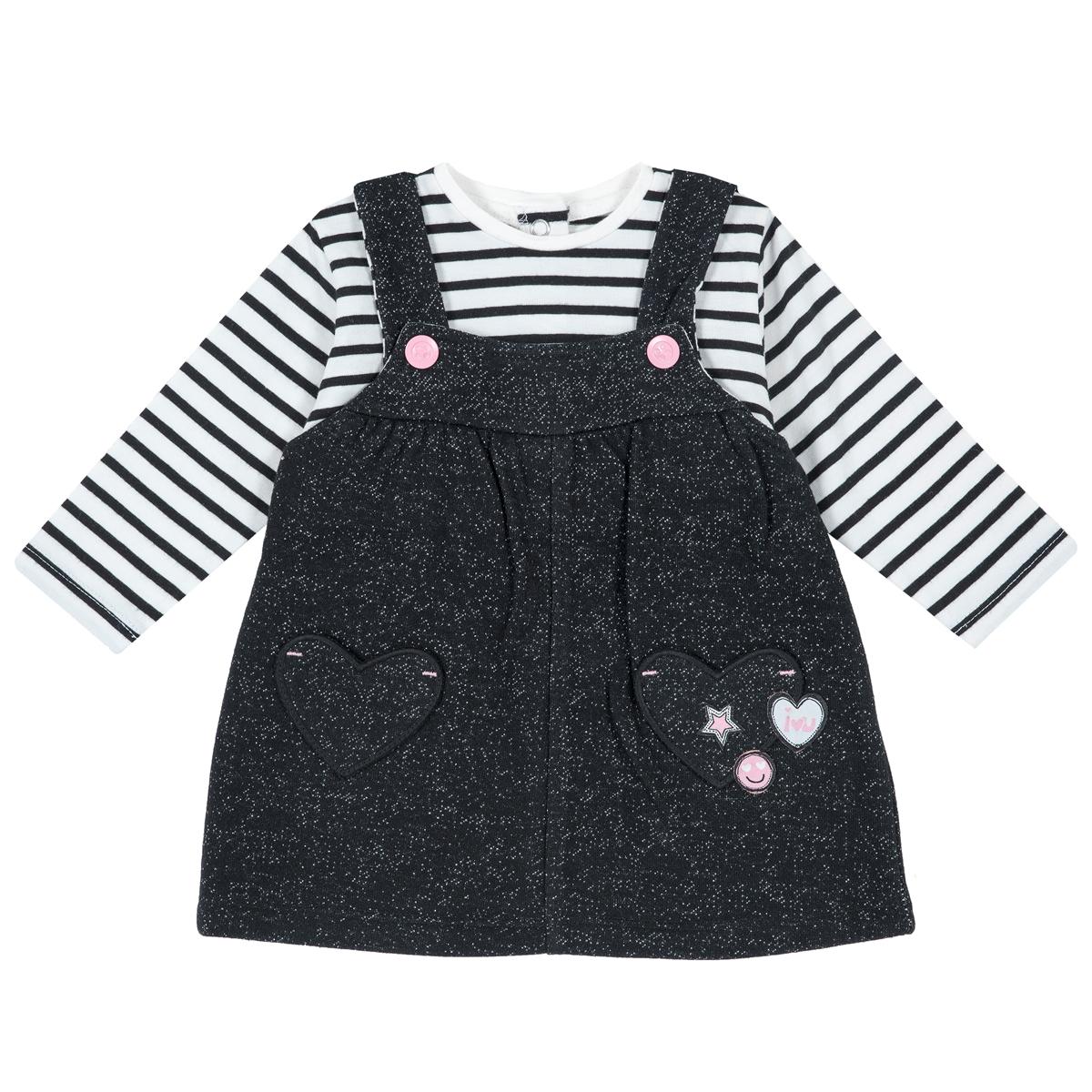 Rochie copii Chicco, maneci lungi si bretelute, inimioare aplicate, 03501