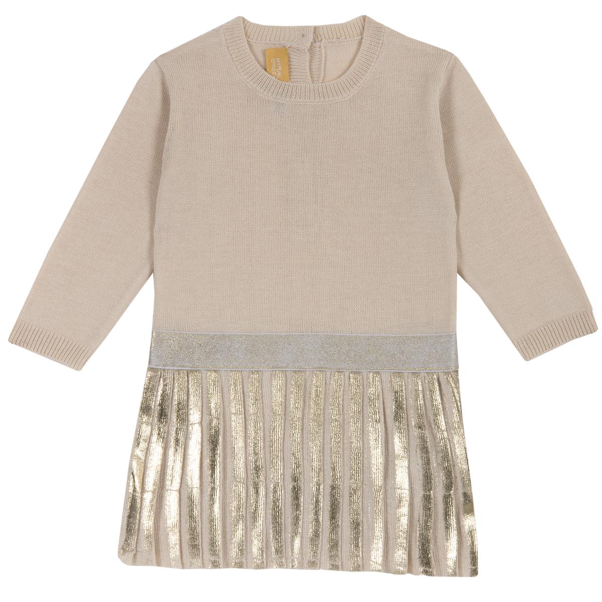 Rochie copii tricotata Chicco, maneca lunga, bej cu model, 03545 din categoria Rochii, Fuste