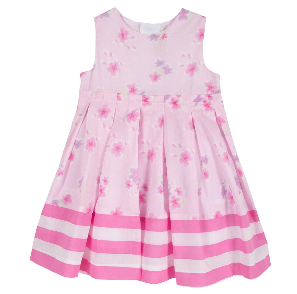 Rochita fara maneci Chicco, cu dublura, roz cu trandafiri, 03431 din categoria Rochii, Fuste
