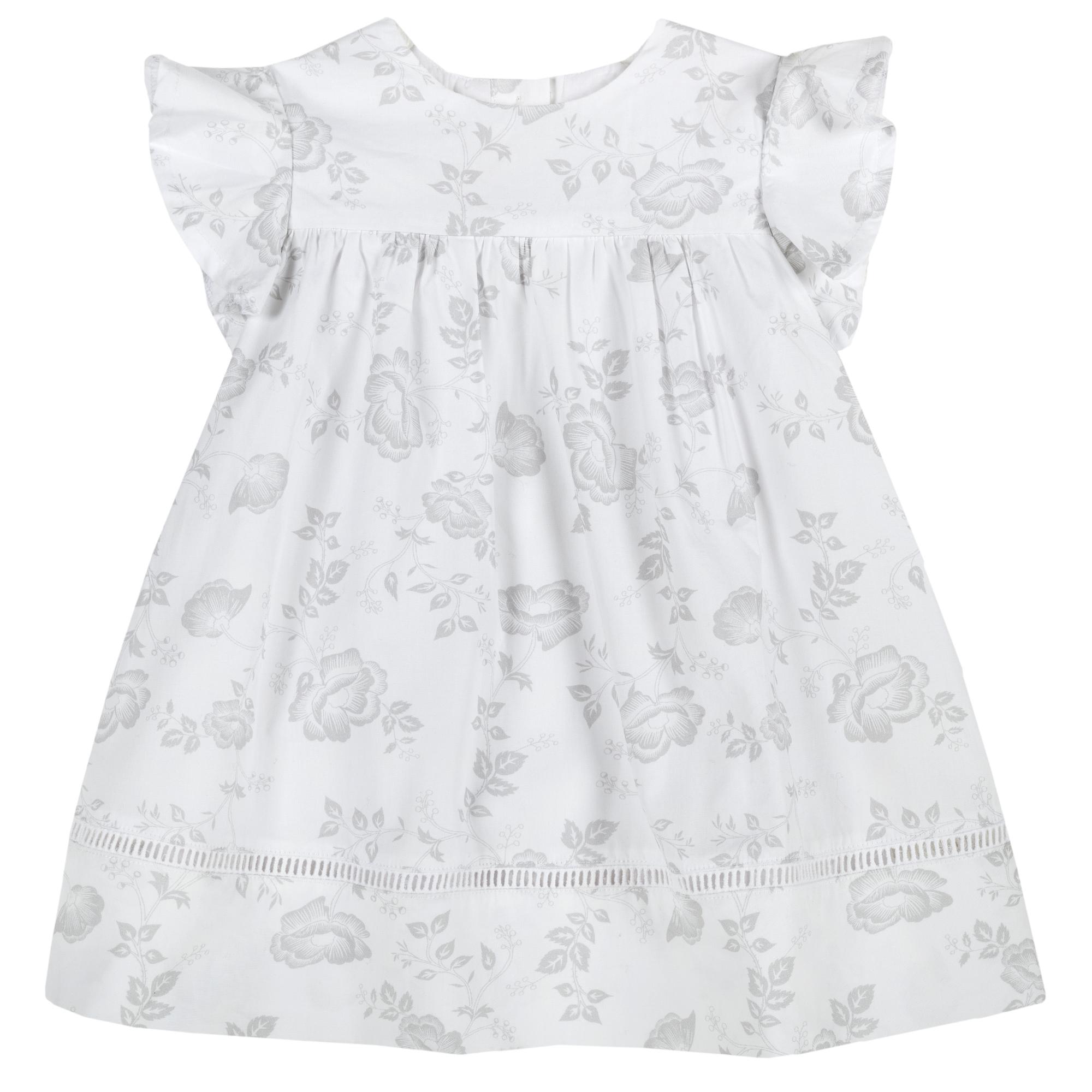Rochita clos cu volanase Chicco, alb cu floricele gri, 03381