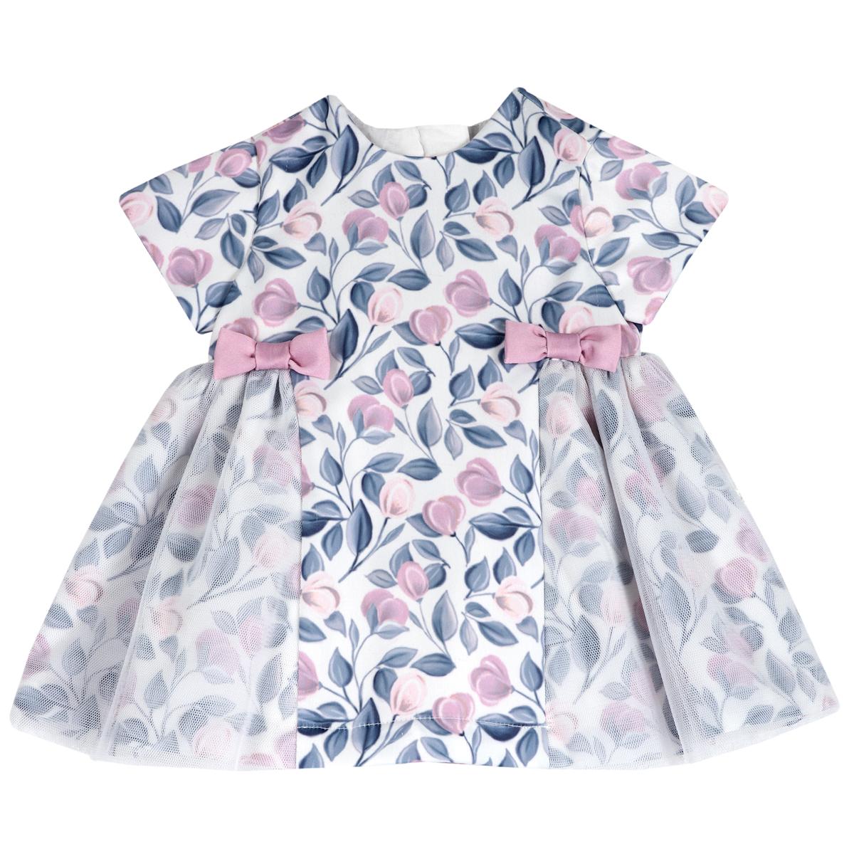 Rochie Copii Chicco, Mprimeu Delicat Cu Flori Roz Si Bleu, 03582 imagine