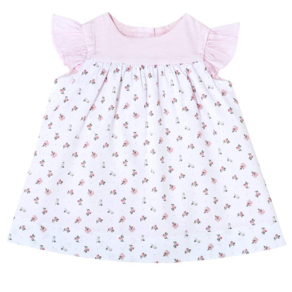Rochie Chicco, maneca scurta, alb cu roz, 93673