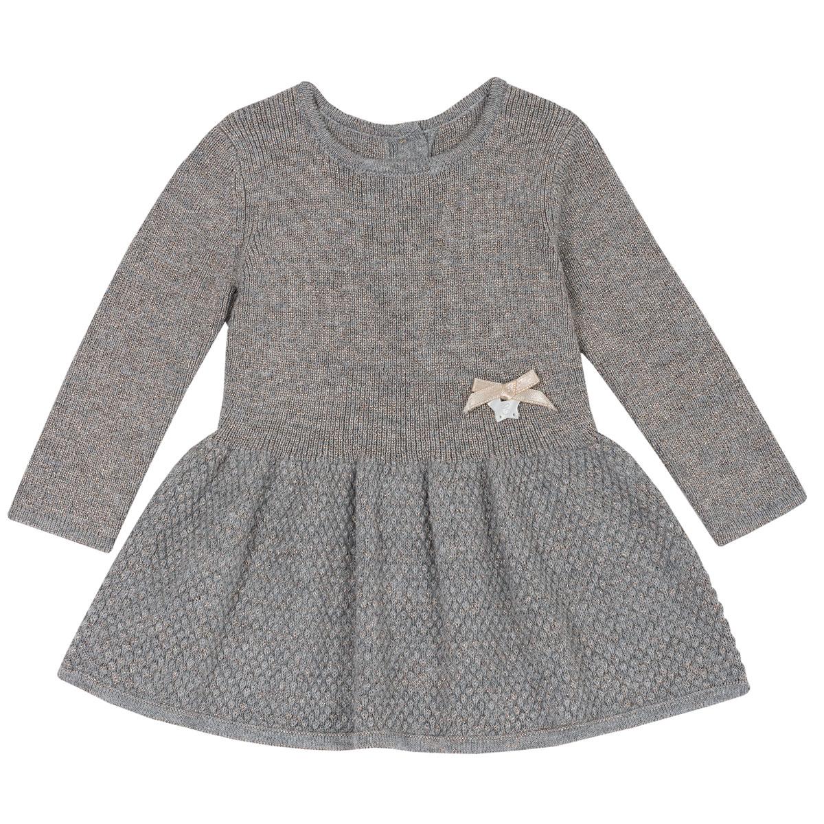 Rochie copii Chicco, tricotata, maneca lunga, gri, 03532 din categoria Rochii, Fuste