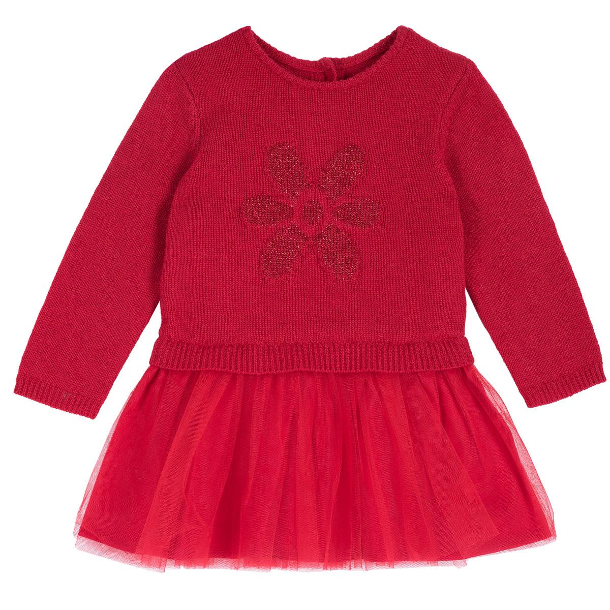 Rochie copii tricotata Chicco, rosu cu model, 03534 din categoria Rochii, Fuste