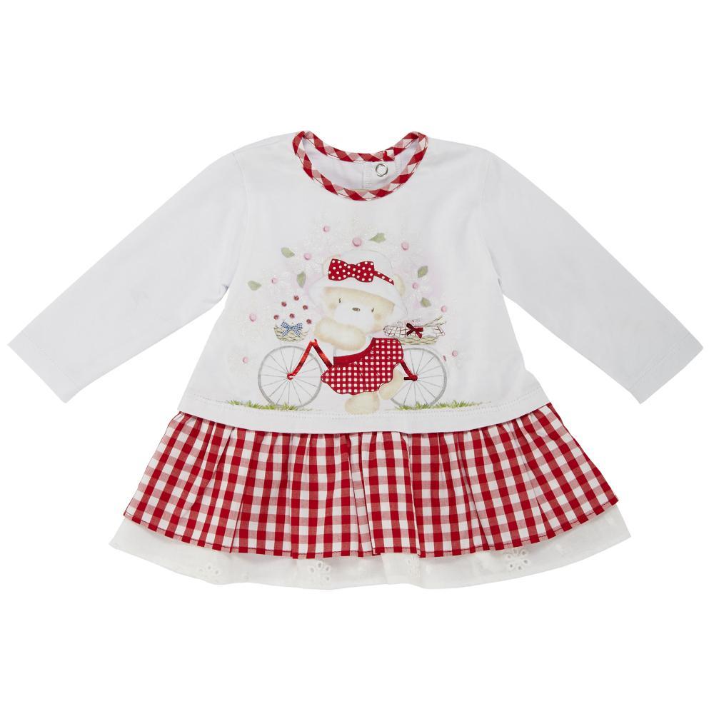 Chicco Rochita copii Chicco maneca lunga alb cu carouri rosii 68