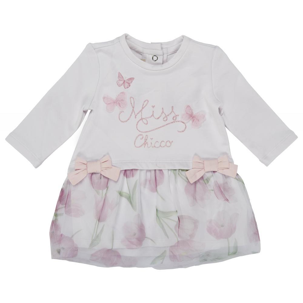 Rochita maneca lunga copii Chicco alb cu roz 68