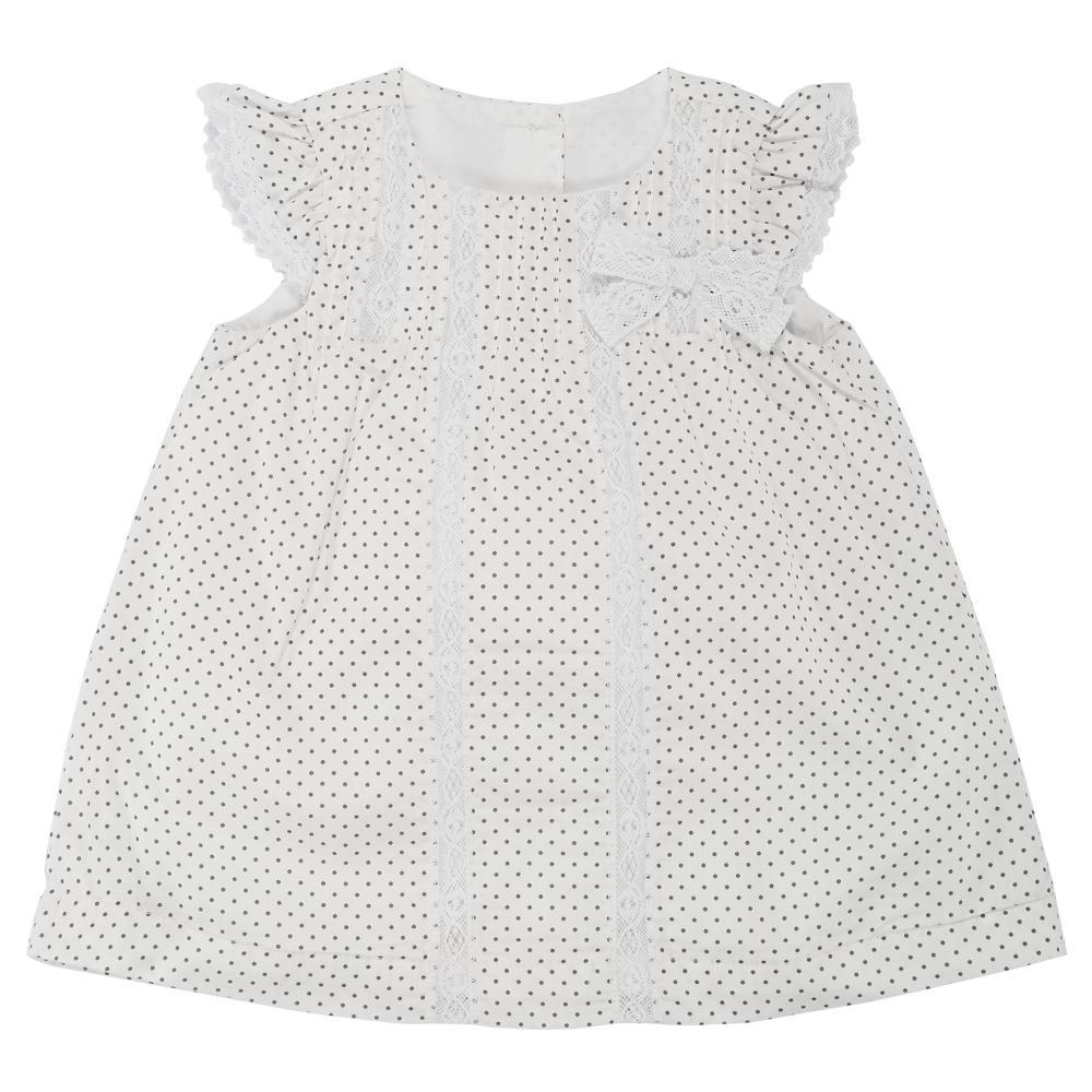 rochita maneca scurta, copii chicco, alb cu buline gri