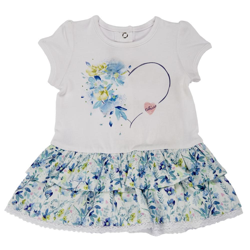 Rochita maneca scurta copii Chicco, alb cu flori multicolore