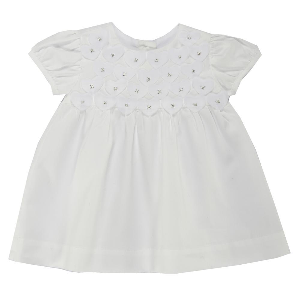 rochita maneca scurta copii chicco, alb cu inimioare
