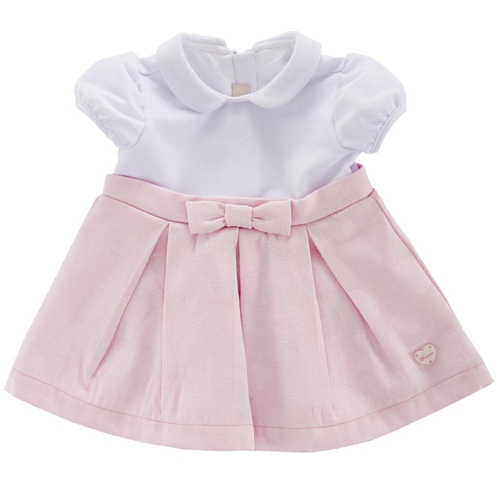 Rochita maneca scurta copii Chicco, alb cu roz