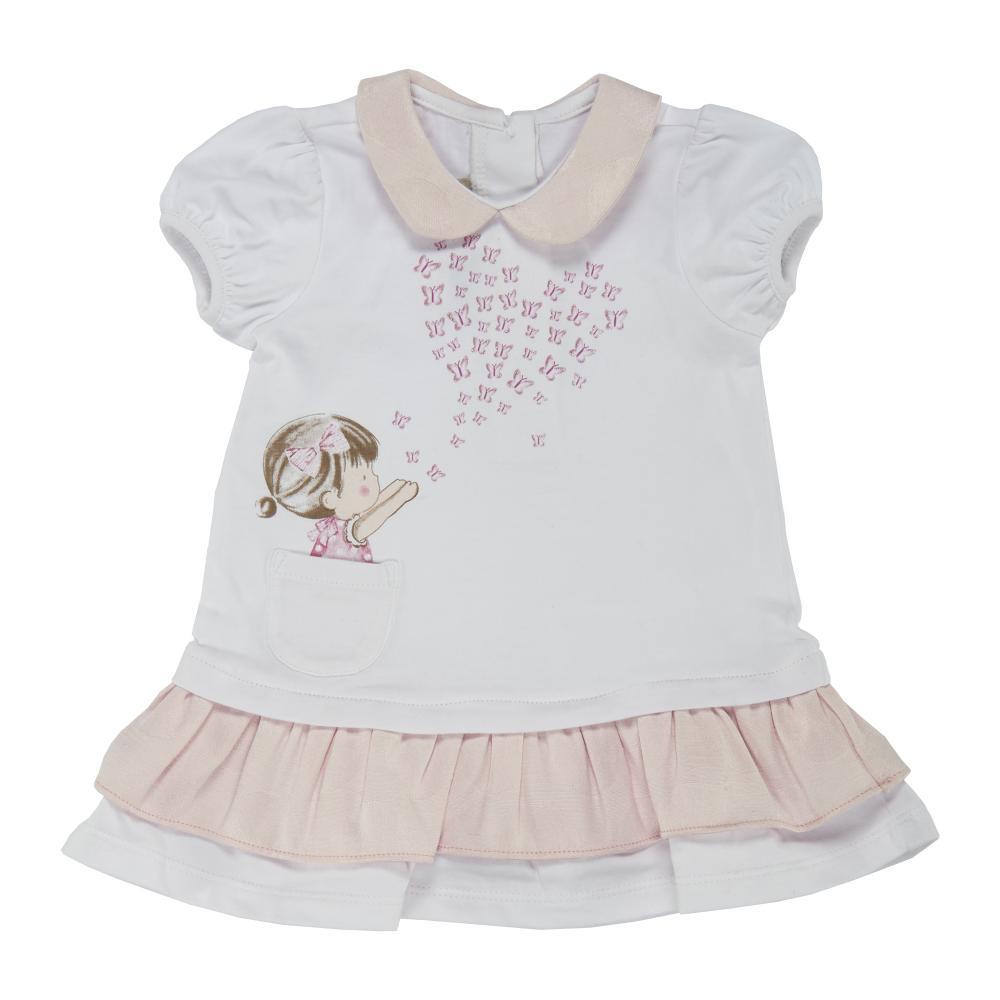 Chicco Rochita maneca scurta copii Chicco alb cu roz 56
